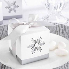 Snow Cut-out Cubic Favor Boxes With Bow  (050026826)