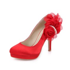 Women's Satin Stiletto Heel Closed Toe Pumps With Imitation Pearl Flower