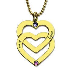 Custom 18k Gold Plated Engraving/Engraved Two Name Necklace Birthstone Necklace Engraved Necklace - Valentines Gifts