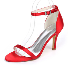 Women's Silk Like Satin Stiletto Heel Pumps Sandals With Buckle