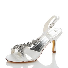 Women's Satin Spool Heel Pumps Sandals With Rhinestone Chain