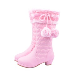 Girl's Leatherette Flat Heel Closed Toe Boots With Bowknot Flower