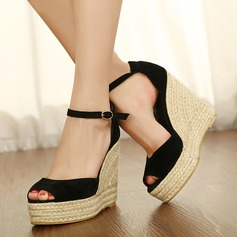 Women's Suede Wedge Heel Sandals Wedges Peep Toe shoes (087117166)