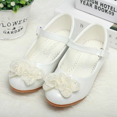 Girl's Leatherette Low Heel Round Toe Closed Toe Pumps With Buckle Satin Flower Crystal