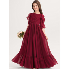 Scoop Neck Floor-Length Chiffon Junior Bridesmaid Dress With Cascading Ruffles (268251171)