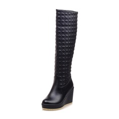 Women's Patent Leather Wedge Heel Knee High Boots shoes (088097030)