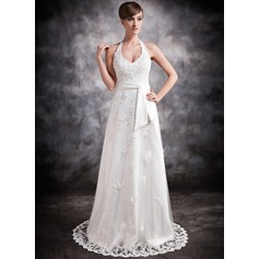 A-Line/Princess Halter Court Train Tulle Wedding Dress With Beading Appliques Lace