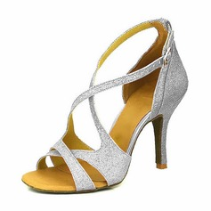 27814519d29 Women s Sparkling Glitter Heels Sandals Pumps Latin Dance Shoes