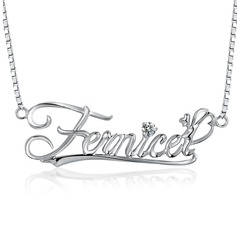 Personalized Hottest With Round Cubic Zirconia Ladies' Name Necklaces For Friends/For Couple
