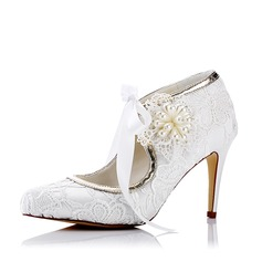 Women's Lace Silk Like Satin Stiletto Heel Pumps With Imitation Pearl Flower Lace-up
