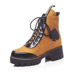 Women's Leatherette Chunky Heel Platform Boots With Lace-up shoes