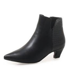 Women's Leatherette Low Heel Boots Ankle Boots With Split Joint shoes