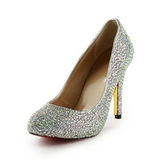 Patent Leather Cone Heel Pumps Platform Closed Toe With Rhinestone shoes