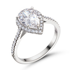 Halo Pear Cut 925 Silver Engagement Rings (303255822)