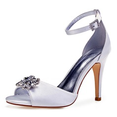 Women's Leatherette Stiletto Heel Peep Toe Pumps With Crystal