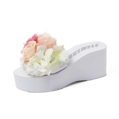 Women's Cloth Wedge Heel Sandals Slippers With Flower shoes
