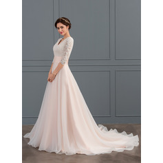 Ball-Gown V-neck Court Train Organza Wedding Dress With Ruffle