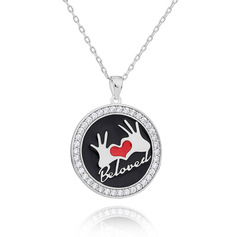 Custom Silver 3D Engraved Necklace Circle Necklace With Heart - Birthday Gifts Mother's Day Gifts