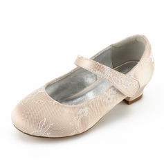 Girl's Round Toe Closed Toe Mary Jane Lace Silk Like Satin Low Heel Flower Girl Shoes With Rhinestone Velcro