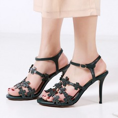 Women's Real Leather Stiletto Heel Sandals Peep Toe With Flower shoes (087117891)