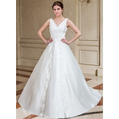 A-Line/Princess V-neck Chapel Train Taffeta Wedding Dress With Lace Beading Sequins