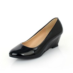 Patent Leather Wedge Heel Pumps Peep Toe shoes (116055438)