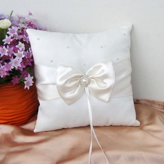 Pure Love Ring Pillow in Satin With Ribbons/Bow