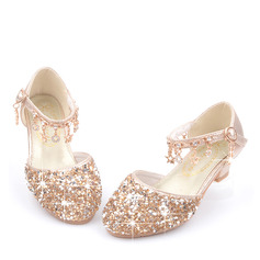 Jentas Round Toe Lukket Tå Leather Flower Girl Shoes med Crystal