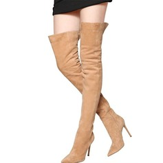 Women's Suede Stiletto Heel Pumps Boots Over The Knee Boots With Zipper shoes