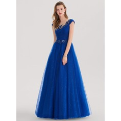 Ball-Gown Scoop Neck Floor-Length Tulle Prom Dresses With Ruffle Lace Sequins