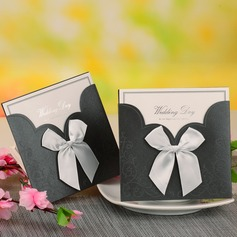 Bride & Groom Style Wrap & Pocket Invitation Cards With Bows  (114054747)