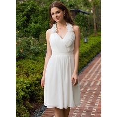A-Line/Princess Halter Knee-Length Chiffon Bridesmaid Dress With Ruffle Flower(s)