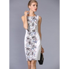 Polyester/Silk With Print Above Knee Dress (199086971)