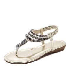 Frauen Kunstleder Niederiger Absatz Sandalen Flache Schuhe Peep Toe Slingpumps mit Strass Nachahmungen von Perlen Gummiband Schuhe