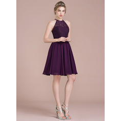 A-Line/Princess Scoop Neck Knee-Length Chiffon Cocktail Dress (016112649)
