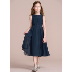 Scoop Neck Tea-Length Chiffon Junior Bridesmaid Dress With Ruffle (268193421)