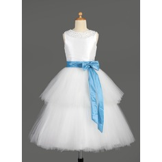A-Line/Princess Tea-length Flower Girl Dress - Taffeta/Tulle Sleeveless Scoop Neck With Sash/Beading/Bow(s)