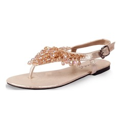 Women's Leatherette Flat Heel Sandals Slingbacks With Beading shoes