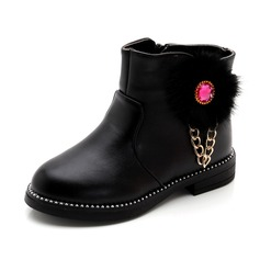 Girl's Round Toe Ankle Boots Leatherette Flat Heel Flats Boots With Rhinestone Zipper