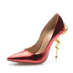 Patent Leather Stiletto Heel Pumps Closed Toe shoes (085063691)
