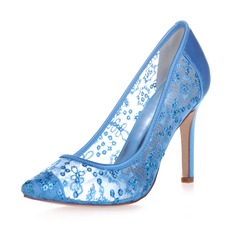 Women's Lace Satin Stiletto Heel Closed Toe Pumps With Sequin