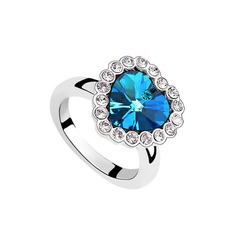 Sweet Heart Crystal/Platinum Plated With Rhinestone Ladies' Rings