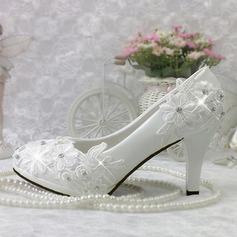 Women's Patent Leather Stiletto Heel Closed Toe Pumps With Rhinestone Stitching Lace Applique