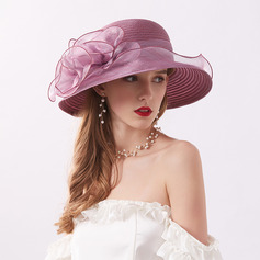 Ladies ' Classic/Elegant/Enkle Organzastof med Blomst Strand / Sun Hatte/Kentucky Derby Hatte/Tea Party Hats
