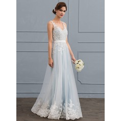 A-Line V-neck Floor-Length Tulle Lace Wedding Dress With Beading Sequins