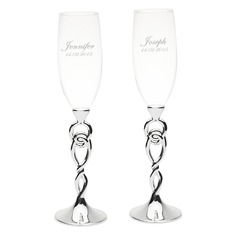 Groom Gifts - Personalized Glass Champagne Flutes  (257202272)