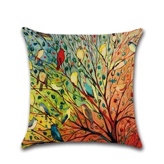 Colorful Tree Of Life Birds Linen Pillowcases (Sold in a single piece)
