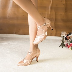 Women's Satin Heels Sandals Pumps Ballroom Dance Shoes