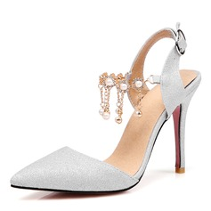 Women's Leatherette Stiletto Heel Sandals Pumps Closed Toe Slingbacks With Rhinestone Buckle shoes