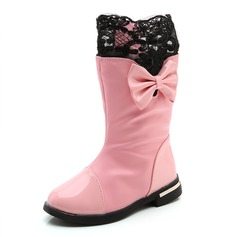 Girl's Round Toe Mid-Calf Boots Leatherette Flat Heel Flats Boots With Bowknot Stitching Lace Zipper